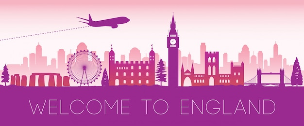 Inglaterra famoso hito rosa silueta diseño