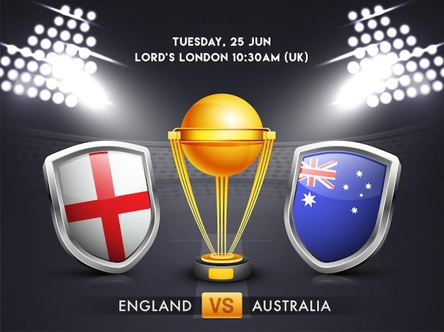 Inglaterra vs australia, concepto de partido de cricket.