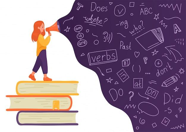 Inglés. chica en pila de libros hablando por megáfono con doodle de idioma sobre fondo blanco. altavoz femenino. enseñar, traducir, aprender, concepto de educación.