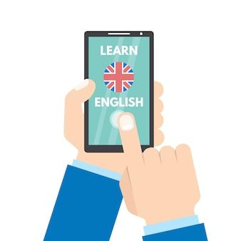 Inglés con concepto móvil. de la mano con el teléfono inteligente. aplicación de aprendizaje de inglés.