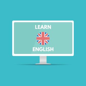 Inglés en línea móvil aprender concepto, aplicación de aprendizaje. ilustración