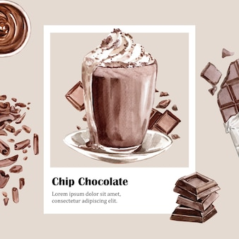 Ingredientes de acuarela de chocolate, hacer bebida de chocolate, ilustración