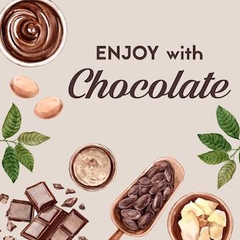 Ingredientes de acuarela de chocolate, haciendo cacoa de chocolate y ilustración de mantequilla.
