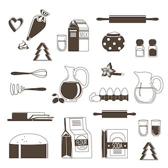 Ingredientes alimentarios para hornear y cocinar. aislar la ilustración monocromática en blanco. icono de ingrediente para cocinar hornear, harina y azúcar