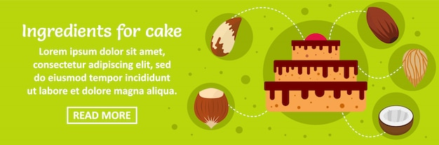 Ingredientes para el concepto horizontal de plantilla de banner de pastel