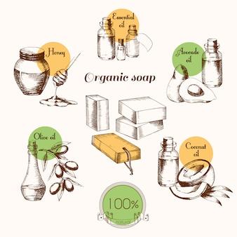 Ingredientes para crear jabón orgánico. ilustración de producto natural.