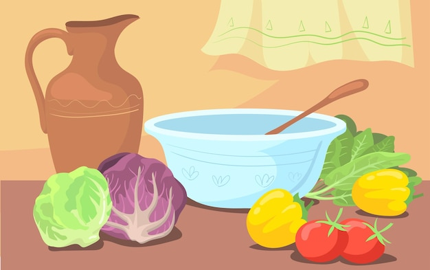 Ingredientes para ensalada y cuenco en la ilustración de dibujos animados de mesa