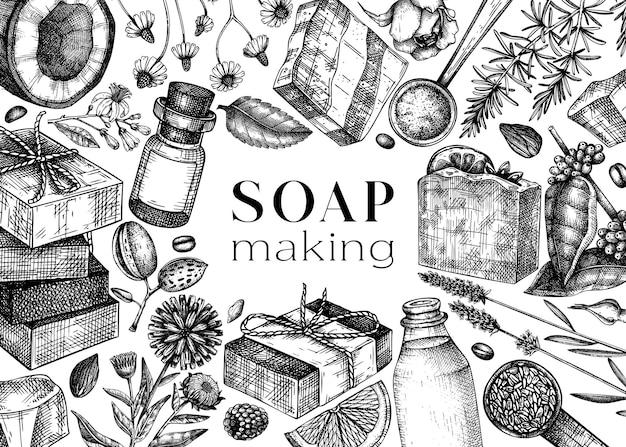 Ingredientes para la fabricación de jabón diseño de marco materiales dibujados a mano para cosméticos jabón de perfumería
