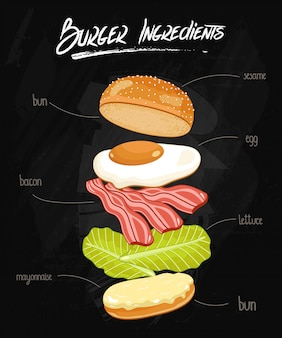 Ingredientes de hamburguesa en pizarra