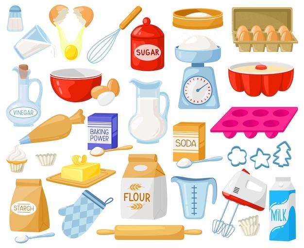 Ingredientes para hornear de dibujos animados. ingredientes de panadería, harina para hornear, huevos, mantequilla y conjunto de vectores de leche