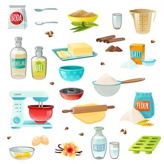 Ingredientes para hornear iconos de colores
