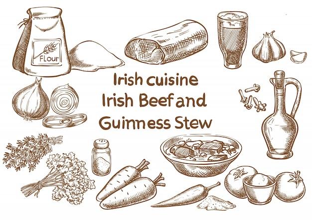 Ingredientes irlandeses de carne de res y guinness