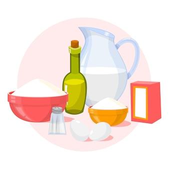 Ingredientes para panqueques sabrosos caseros. hornear desayuno