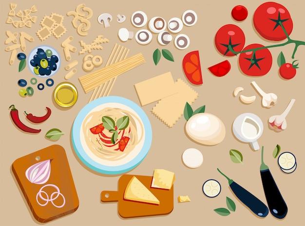 Ingredientes de la pasta conjunto entero y cortado en trozos.