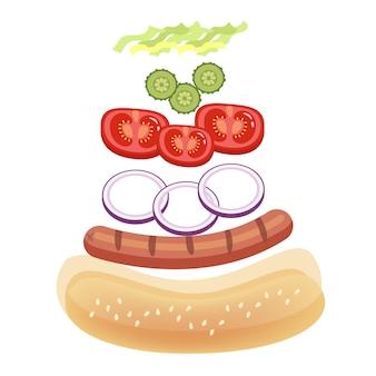 Ingredientes para perros calientes para cocinar en casa. bollo de pan y salchicha, tomate y salsa. ilustración