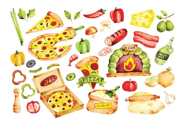 Ingredientes de pizza en estilo acuarela doodle ilustración