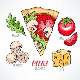 Ingredientes de pizza. pedazo de pizza con tomates