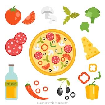 Ingredientes de la pizza sobre un fondo blanco