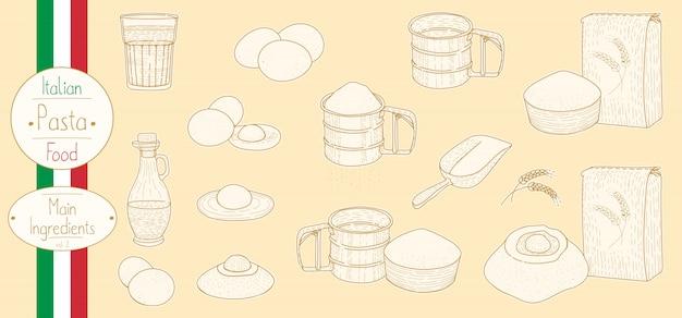 Ingredientes principales de pasta para cocinar comida italiana