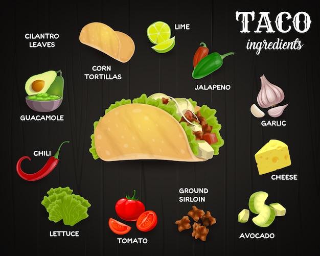 Ingredientes de tacos, comida rápida mexicana