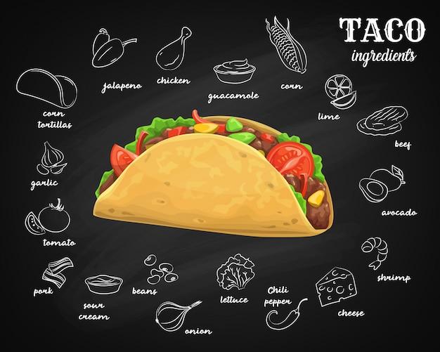Ingredientes de tacos, menú de pizarra comida rápida