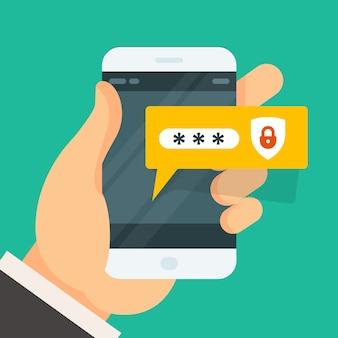 Ingresar contraseña en el teléfono inteligente
