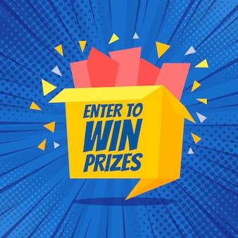 Ingrese para ganar premios caja de regalo ilustración