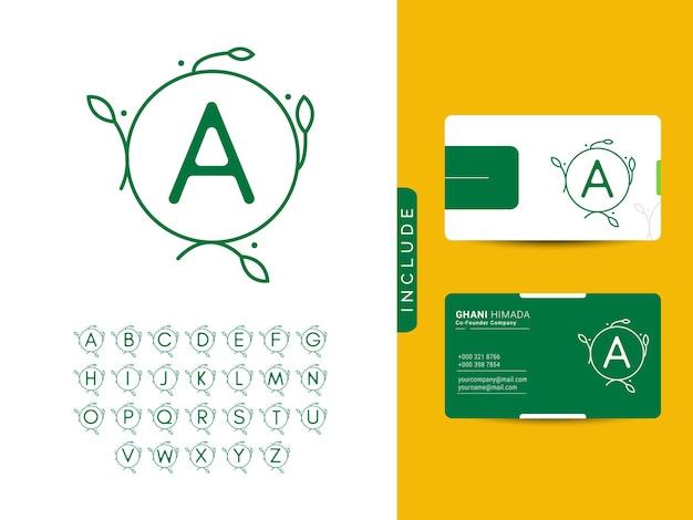 Inicial con concepto de diseño de logotipo de naturaleza