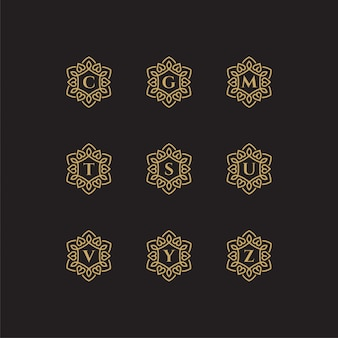 Iniciales c, g, m, t, s, u, v, y, plantilla de logotipo z con un color de estilo dorado para la empresa