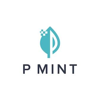 Iniciales de la letra p con hoja de menta y símbolos digitales diseño de logotipo moderno geométrico creativo simple