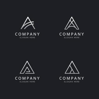Iniciales una plantilla de logotipo de monograma de línea con un color plateado para la empresa.