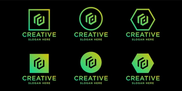 Iniciales rd plantilla de diseño de logotipo