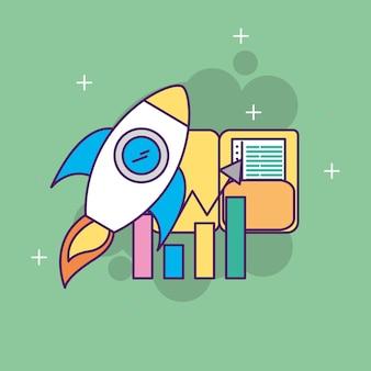 Iniciar informe de estadísticas de la carpeta de cohete de negocios