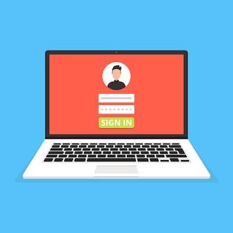 Iniciar sesión en la página en la pantalla del portátil. avatar masculino