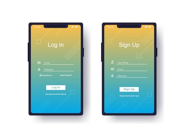 Iniciar sesión, registrarse interfaz de usuario