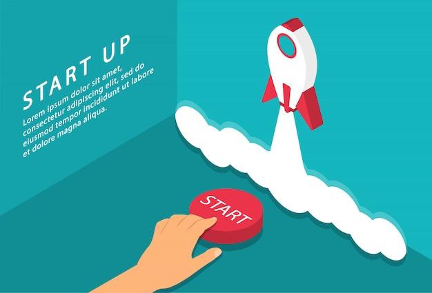 Inicie la página de destino. pon en marcha tu proyecto. botón de inicio. concepto de lanzamiento de cohetes. isométrica.