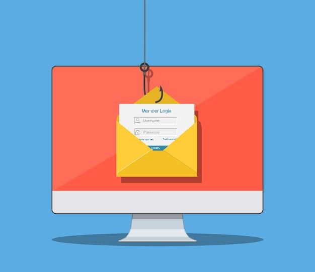Inicie sesión en la cuenta en el sobre del correo electrónico y el anzuelo de pesca. phishing en internet, inicio de sesión y contraseña pirateados. seguridad de la red y de internet. antivirus, software espía, malware.
