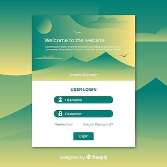 Inicie sesión en la plantilla web de la página de destino
