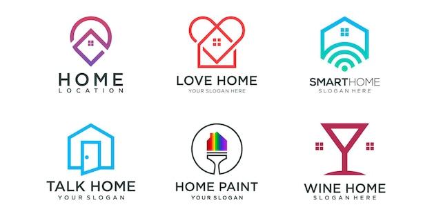 Inicio conjunto de iconos de logotipo combinado. plantilla de diseño de logotipo de casa creativa.