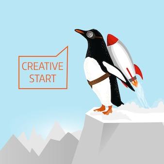 Inicio creativo y concepto de idea creativa. penguin comienza a despegar con la ayuda de rocket. ilustración dibujada a mano
