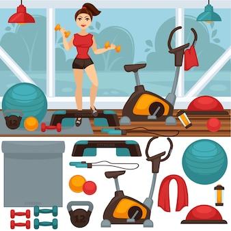 Inicio equipamiento de fitness e interior de gimnasio.