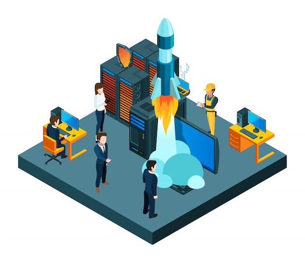 Inicio exitoso de negocios. equipo joven isométrico, protección de datos, concepto de cohete de inicio