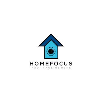 Inicio foco fotografía vector logotipo diseño