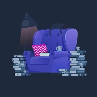 Inicio habitación linda ilustración. concepto de amante de los libros. muebles de sala sillón con libros y personaje de gato acostado y descansando en el sillón. gato soñando.
