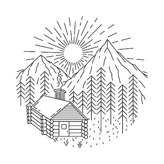 Inicio naturaleza montaña línea salvaje ilustración