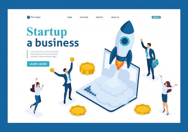 Inicio de negocios isométrico, los empresarios se alegran del despegue de cohetes desde una computadora portátil, página de aterrizaje de inversión empresarial