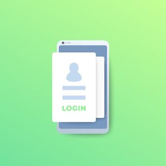 Inicio de sesión, autenticación móvil, icono