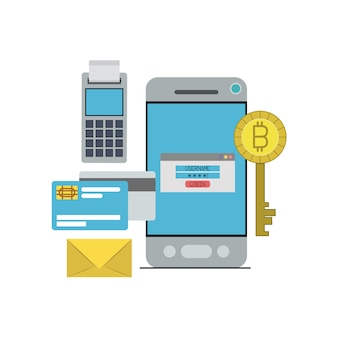 Inicio de sesión de clave de moneda digital bitcoin en pago desde teléfono inteligente