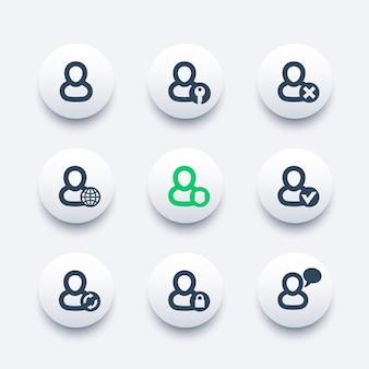 Inicio de sesión, conjunto de iconos de cuenta