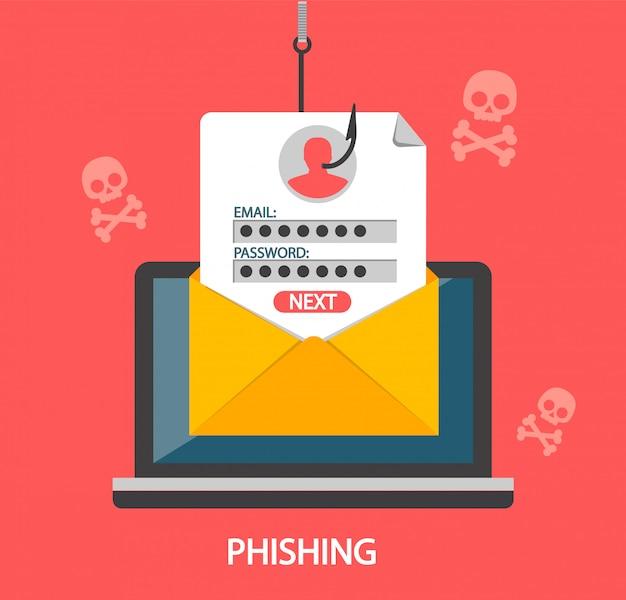 Inicio de sesión de phishing y contraseña en el anzuelo